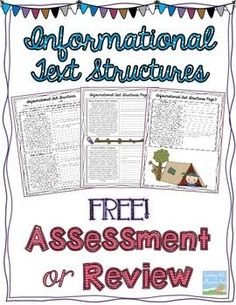 Here's an assessment or review resource on recognizing informational text structures.                                                                                                                                                                                 More