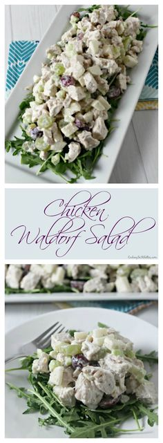 Fresh Chicken tossed with apples, grapes, and crunchy walnuts and drizzled with a lemony yogurt dressing. This Chicken Waldorf Salad is a light modern twist on a classic favorite and it's pefect for a summer picnic! #BloggerCLUE | Cooking In Stilettos ~ http://cookinginstilettos.com