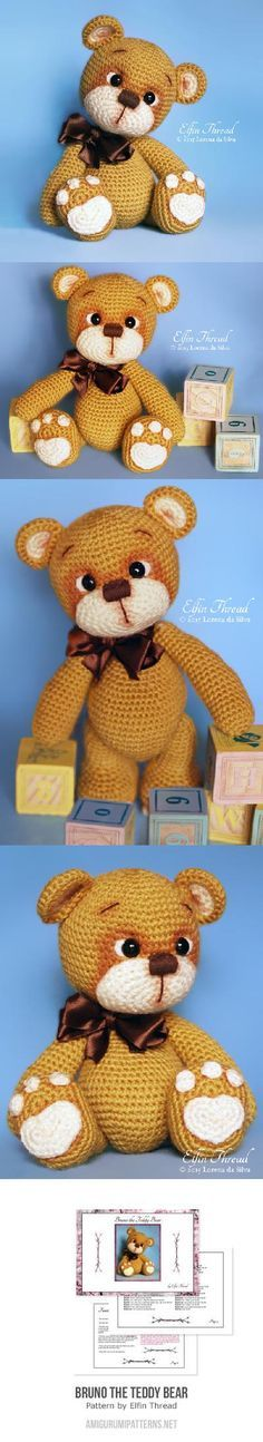 "Bruno The Teddy Bear Amigurumi Pattern, 10"" tall"