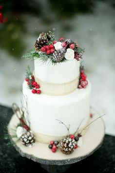 Beautiful Winter Wedding Cake
