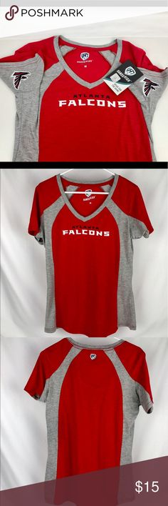 """Atlanta Falcons Hands High Women's V-Neck Tee Brand New Officially Licensed with tags. Women's 60% cotton/40% poly blend super soft tee. This unique """"Hands High"""" Brand features logos in each armpit to show your pride while cheering on your team. V-Neck with color block accents to flatter the figure 190427298248 Hands High Tops Tees - Short Sleeve"""