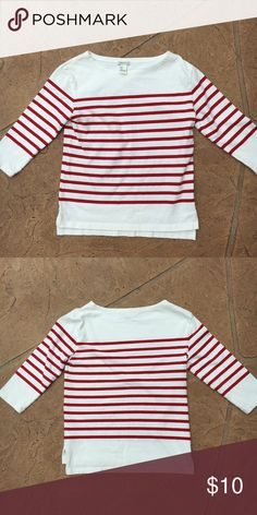Red and white stripped long sleeve Red and white stripped long sleeve. Boxier fit Forever 21 Tops Tees - Long Sleeve