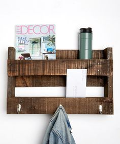 Look at this #zulilyfind! Dark Walnut Reclaimed Wood Entry Shelf/Wall Hook #zulilyfinds thinking this would be easy enough to make.