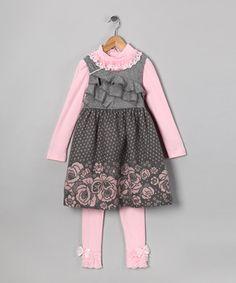 Gray Polka Dot Dress Set - Toddler & Girls