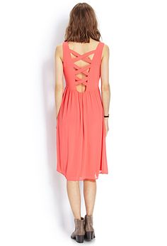 Delicate Chiffon Midi Dress | FOREVER 21.  Very cute. Perfect for a summer wedding
