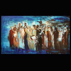 Painting By: Ahmad Moualla.Acrylic on Canvas, Year: 2009. 90 x 50 cm    For Sale via Levantania