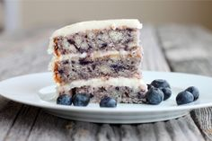 Blueberry cake with lemon cream cheese frosting by Iadorefood. Perfect for spring!