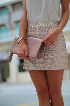 Topshop rose gold sequins skirt, nude topshop scoop neck top, statement chain necklace in silver, nude steve madden studded sandals and gucci patent leather clutch. Perfect birthday outfit. Party skirt  {sequins and things…}
