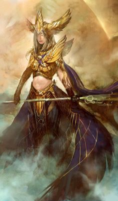 This is the original concept art of the Avatar of Dwayna by Kekai Kotaki