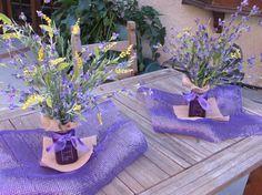 Floral Arrangement Flower Centerpiece Summer Table Decor Spring Decor Purple Yellow Flowers Deco Mesh Centerpiece Mason Jar Decor Burlap