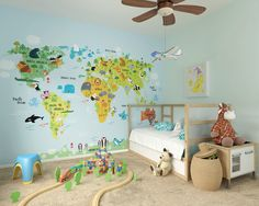 Self adhesive removable wallpaper map kids by decoryourwall the whole wide world wall mural gumiabroncs Images