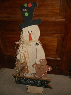 "primitive country wood snowman decoration gingerbread men 28+"" garden winter $29"