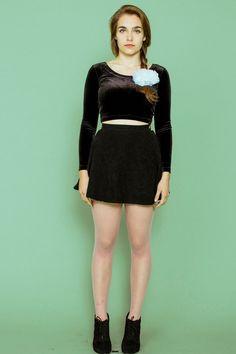 93862b9fbf365 Emma wears the Black Velvet Long-Sleeve Crop Top and Denim Circle Skirt by