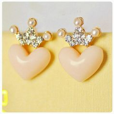Small Beige colored heart with crown stud earrings Brand new, in packaging. Jewelry Earrings
