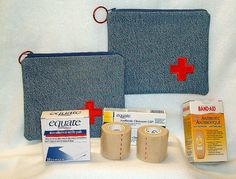 First Aid Bags - sew-whats-new.com.  Made out of denim?
