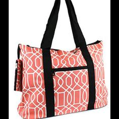 Large Coral Tote Purse Beach or Travel Diaper Bag This is a large tote bag that is very sturdy and very versatile!  Great bag for a diaper bag, a beach bag, a travel bag or a carry on for the plane.  A great big purse for all of you girls who love a big bag.  Size : 18w x 14h x 6d in.   The handle drop is 10.5 in.   Material : Canvas   * Zipper Closure   * Zipper Pocket on Front  * Coin Pouch included  * Double Handles  * Metal Feet on Bottom  Color : Black / Coral Scarlettsbags Bags Totes