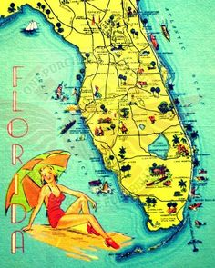 Sunny Florida is a vibrant new 11x14 or 16x20 photograph of 1940's Florida map art altered and embellished with modern day photo editing magic and retro colors.  Perfect for beach house, shabby chic or retro mid century decor.  Original prints that will bring a bunch of fun to any decor.  Also available on canvas and pillows:)The print you receive will be much higher resolution than the listing image. Framed photo is shown as an example only, room pic art size is not to scale and the Beach4Good Vintage Florida, Old Florida, Florida Home, Florida Beaches, Florida Girl, Florida Living, Destin Florida, South Florida, Florida Maps