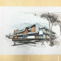 sketch for da week Architecture Concept Drawings, Architecture Sketchbook, Landscape Architecture, Interior Architecture, Landscape Design, Architecture Colleges, Home Building Design, Interior Design Boards, Exterior Design