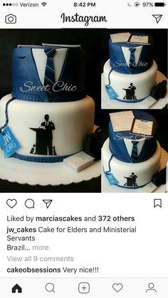 Pasteles Jw Pioneer, Pioneer School, Pioneer Gifts, Gorgeous Cakes, Amazing Cakes, Aniversary Cakes, Family Worship Night, Bible Cake, 75th Birthday Parties