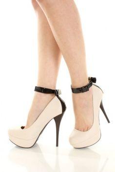 Stone Faux Leather Ankle Strap Bow Accent Platform Pump