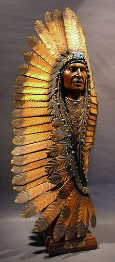 Bill Churchill - Turquoise Headdress Popular Wood Sculpture!!!