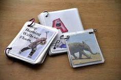 laminated flip books: do one for ABCs and one for family members