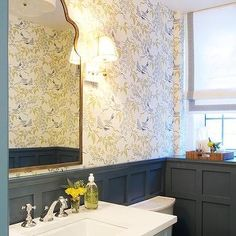 Yellow and Gray Powder Room with Charcoal Gray Board and Batten Trim