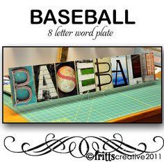 BASEBALL  Alphabet Photography 8 LETTER Word Plate (framed) in Color or Black & White