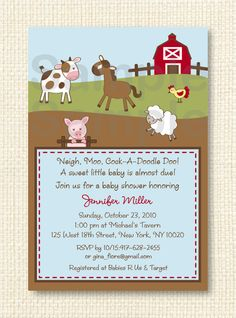 baby shower ideas / barnyard | farm animal baby shower invitation printable 12 00 usd buy now on etsy ...