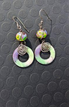 Enamel Earrings Handmade Lampwork Beads by Robinsnestcreation1