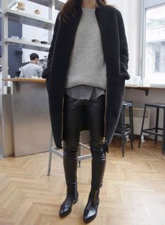 coat winter winter fashion bootsb black outfits streetstyle street stylef fashion minimalist simple fashion leather pants jumper sweater grey sweater comfortable jacket cardigan warm