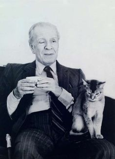 writer Jorge Luis Borges and a cat Animal Gato, Mundo Animal, Crazy Cat Lady, Crazy Cats, I Love Cats, Cool Cats, Celebrities With Cats, Celebs, Men With Cats