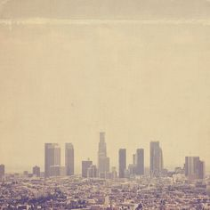 "Los Angeles photograph ""southland"". downtown skyline California, cold urban cityscape - winter grey buildings, LA, unisex. $30.00, via Etsy."