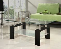 Glass Coffee Table Rectangle Black White Red Walnut Legs with Chrome Modern New