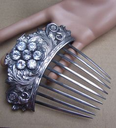 Antique hair comb Victorian silver with by ElrondsEmporium on Etsy Women's vintage fashion hair accessories