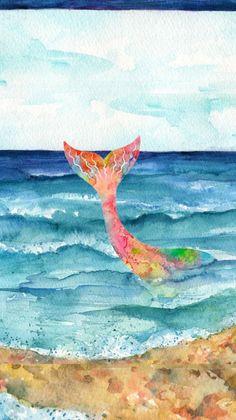 Beach Seascape Original Watercolor Painting by SharonFosterArt Watercolor Art Landscape, Beach Watercolor, Watercolor Art Paintings, Landscape Artwork, Seascape Paintings, Cool Paintings, Original Paintings, Watercolor Ideas, Watercolours