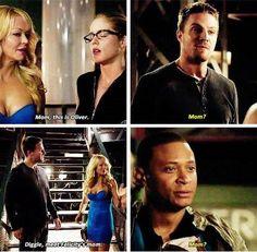 "#Arrow 3x05 ""The Secret Origin of Felicity Smoak"" - Diggle, Oliver, Donna and Felicity"
