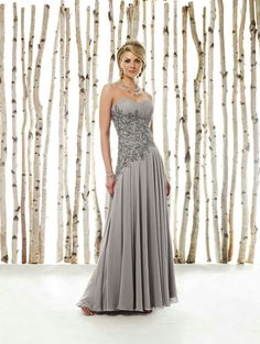 Sheath Strapless Silver Mother of The Bride Dresses MD0088 by Dream Bridal