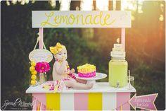 Emilie's Lemonade stand 1st Birthday Portraits | fort smith arkansas photography Smash cake pictures Lemonade stand