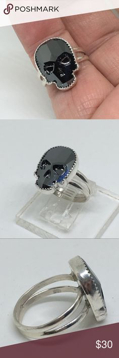 Handcrafted Skull Ring made W/Swarovski Hematite This is a ring handcrafted by me in my studio. 19 x 14mm Swarovski Hematite Skull set in a handcrafted sterling silver setting. Ring Size 8 1/2 designsbysteve Jewelry Rings