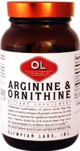 Olympian Labs Arginine, 500mg & Ornithine, 250mg by Olympian Labs. $12.99. May retard the growth of tumors and cancer. Helps release insulin by stimulating pancreas. Aids in liver detoxification. Improved muscle metabolism when used. Improves proper nitrogen levels. A balanced combination of amino acids that may increase the release of growth hormone. Growth hormone is required for optimum muscle growth and repair. A reduction in body fat and increases in muscle mass ...