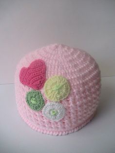 Crochet Baby Girl Hat Pink with Valentine decoration by MILAVIKIDS, $19.99