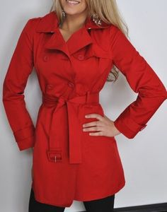 New Womens Kenneth Cole Trench Coat Rain Coat Red Small S