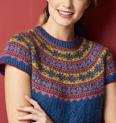 Mary Henderson has combined her two favourite styles, Fair Isle and lace, to create her yoked tunic. It's knitted from the top down, with a stranded colourwork yoke, and a lace panel on the centre front for added interest. Fair Isle Knitting Patterns, Knit Patterns, Knitting Ideas, Crochet Clothes, Knit Crochet, Ravelry, Mary, Fair Isles, Handmade