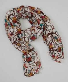 http://www.zulily.com/invite/vhanson979 Look what I found on #zulily! Colorful Owls in Trees Scarf #zulilyfinds