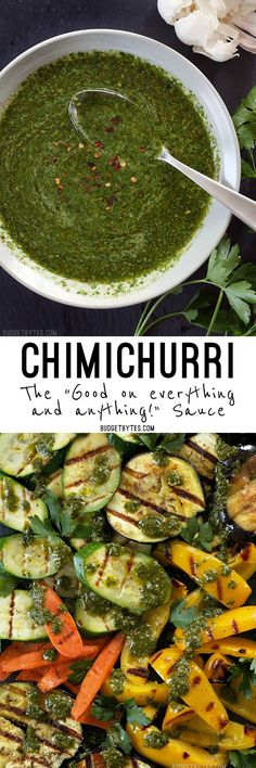 Sauce: Good on Anything and Everything Chimichurri is a vibrant, fresh, and incredibly simple sauce that delivers big flavor to any meal. is a vibrant, fresh, and incredibly simple sauce that delivers big flavor to any meal. Mexican Food Recipes, Vegetarian Recipes, Cooking Recipes, Healthy Recipes, Ethnic Recipes, Delicious Recipes, Recipes Dinner, Tasty, Chutneys