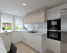 Cocina Santos Modelo Line Estratificado Blanco con Encimera Granito Negro #casasmodernasestrechas