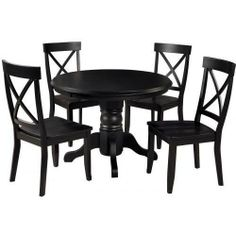 Home Styles 5 Piece Round Pedestal Dining Set - Black - 5178-318 by Home Styles. $839.00. Black Finish. Solid Hardwood Construction. Home Styles 5 Piece Round Pedestal Dining Set - Black - 5178-318. 5178-318. Contemporary Dining Room Sets. The Home Styles 5 Piece Round Pedestal Dining Set - Black - 5178-318. This Home Styles Dining Set features a solid hardwood construction in Black finish. Size: 42 x 42 x 30 Inch high Four Side Chair features a solid hardwood construction ...