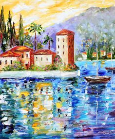 Large Oil Original  LAKE COMO ITALY Boats palette knife painting by Karensfineart