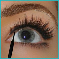 """Mink False Eyelashes Tips & Hacks from the Minki Lashes Queen Mink Eyelashes Tip The Royal Tightligning Trick! """"Tightlining"""" means filling in the bare spaces between your natural lashes. Filling these spaces in will give the illusion of a longer lash line False Eyelashes Tips, Applying False Eyelashes, Applying Eye Makeup, Longer Eyelashes, Fake Eyelashes, Long Lashes, False Lashes, Ardell Lashes, Eyelash Tips"""